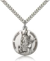 "Sterling Silver St. Hubert of Liege Pendant, Stainless Silver Heavy Curb Chain, 1"" x 7/8"""