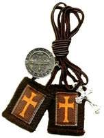 D: Crusader Long Cord Brown Scapular