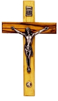 Olive Wood Crucifix with Bethlehem Stone