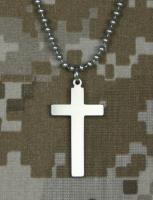"Military  Cross with 24"" Beaded Chain"