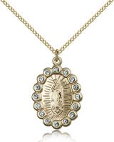 "Gold Filled Our Lady of Guadalupe Pendant, Gold Filled Lite Curb Chain, 1"" x 5/8"""