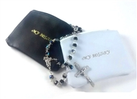 Black or White Large Leather Rosary Pouch