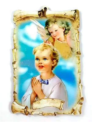 Boy with Angel Wall Plaque