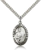 "Sterling Silver St. Jude Pendant, Stainless Silver Heavy Curb Chain, 1"" x 5/8"""