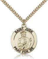 "Gold Filled St. Jude Pendant, Stainless Gold Heavy Curb Chain, 1"" x 7/8"""