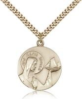 "Gold Filled Our Lady Star of the Sea Pendant, Stainless Gold Heavy Curb Chain, 1"" x 7/8"""