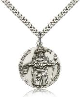 "Sterling Silver St. Niño de Atocha Pendant, Stainless Silver Heavy Curb Chain, 1"" x 7/8"""