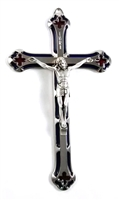 "7"" Blue and Red Enamel Crucifix"