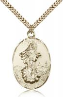 "Gold Filled Our Lady of Medugorje Pendant, Stainless Gold Heavy Curb Chain, 1 3/8"" x 7/8"""