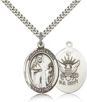 "Sterling Silver St. Brendan the Navigator/ Navy Pe, Stainless Silver Heavy Curb Chain, Large Size Catholic Medal, 1"" x 3/4"""
