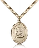 "Gold Filled St. John Bosco Pendant, Stainless Gold Heavy Curb Chain, Large Size Catholic Medal, 1"" x 3/4"""