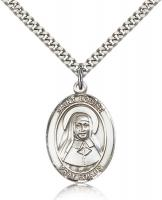 "Sterling Silver St. Louise de Marillac Pendant, Stainless Silver Heavy Curb Chain, Large Size Catholic Medal, 1"" x 3/4"""
