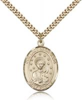 "Gold Filled Our Lady of La Vang Pendant, Stainless Gold Heavy Curb Chain, Large Size Catholic Medal, 1"" x 3/4"""