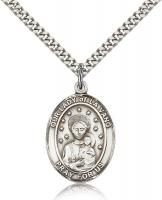 "Sterling Silver Our Lady of La Vang Pendant, Stainless Silver Heavy Curb Chain, Large Size Catholic Medal, 1"" x 3/4"""