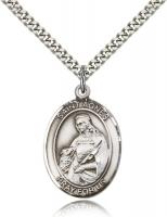 "Sterling Silver St. Agnes of Rome Pendant, Stainless Silver Heavy Curb Chain, Large Size Catholic Medal, 1"" x 3/4"""