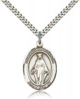 "Sterling Silver Our Lady of Lebanon Pendant, Stainless Silver Heavy Curb Chain, Large Size Catholic Medal, 1"" x 3/4"""