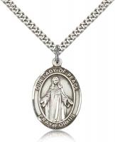 "Sterling Silver Our Lady of Peace Pendant, Stainless Silver Heavy Curb Chain, Large Size Catholic Medal, 1"" x 3/4"""
