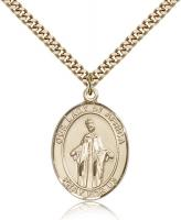 "Gold Filled Our Lady of Africa Pendant, Stainless Gold Heavy Curb Chain, Large Size Catholic Medal, 1"" x 3/4"""