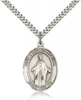 "Sterling Silver Our Lady of Africa Pendant, Stainless Silver Heavy Curb Chain, Large Size Catholic Medal, 1"" x 3/4"""