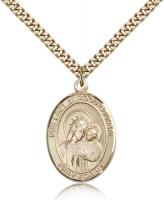 "Gold Filled Our Lady of Good Counsel Pendant, Stainless Gold Heavy Curb Chain, Large Size Catholic Medal, 1"" x 3/4"""