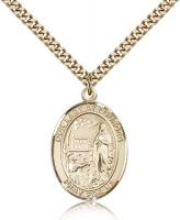 "Gold Filled Our Lady of Lourdes Pendant, Stainless Gold Heavy Curb Chain, Large Size Catholic Medal, 1"" x 3/4"""