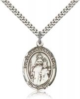 "Sterling Silver Our Lady of Consolation Pendant, Stainless Silver Heavy Curb Chain, Large Size Catholic Medal, 1"" x 3/4"""