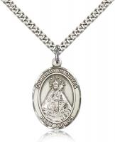 "Sterling Silver Our Lady of Olives Pendant, Stainless Silver Heavy Curb Chain, Large Size Catholic Medal, 1"" x 3/4"""