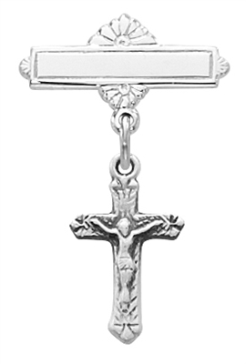 Sterling Silver Crucifix Baby Pin 466L
