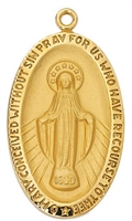 18KT. Gold Over Sterling Silver Miraculous Medal J334MI