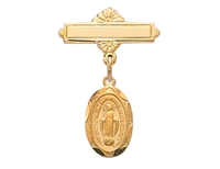 18KT Gold on Sterling Silver Miraculous Medal Baby Pin 433J
