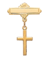 18KT Gold on Sterling Silver Cross Baby Pin 435J