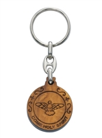 Confirmation Holy Spirit Olive Wood Keychain KR7GFT