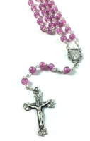 Venetian Rose Painted Glass Bead Sterling Rosary 358L-RS/F