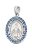Sterling Silver Blue Crystal Stone Miraculous Medal L699
