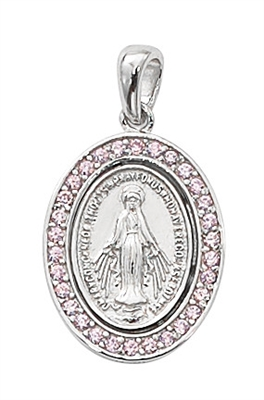 Sterling Silver Pink Crystal Stone Miraculous Medal L702