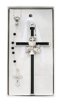 First Communion Black Enameled Cross with Rosary Set CBS2