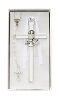 First Communion White Enameled Cross and Rosary Set CBS1