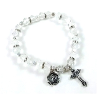 Crystal (April) Birthstone Rosary Bracelet BR810C