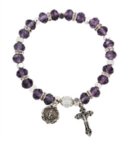 Light Amethyst (June) Birthstone Rosary Bracelet BR812C