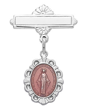Sterling Silver Pink Enamel Miraculous Medal Baby Pin 420L