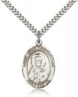 "Sterling Silver St. John Chrysostom Pendant, Stainless Silver Heavy Curb Chain, Large Size Catholic Medal, 1"" x 3/4"""