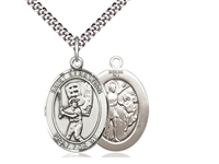 "Sterling Silver St. Sebastian / Baseball Pendant, SN Heavy Curb Chain, Large Size Catholic Medal, 1"" x 3/4"""