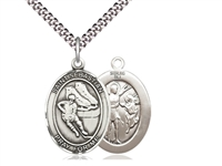 "Sterling Silver St. Sebastian / Hockey Pendant, SN Heavy Curb Chain, Large Size Catholic Medal, 1"" x 3/4"""