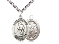 "Sterling Silver St. Sebastian / Wrestling Pendant, SN Heavy Curb Chain, Large Size Catholic Medal, 1"" x 3/4"""