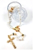 Rosary Imitation Pearl Bead with Clear Rose Case R6102