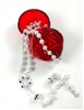 Rosary Imitation Pearl Bead with Red Rose Case R6103