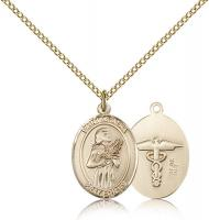 "Gold Filled St. Agatha / Nurse Pendant, Gold Filled Lite Curb Chain, Medium Size Catholic Medal, 3/4"" x 1/2"""