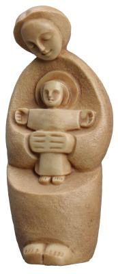 "Madonna with Child 7"" Brown Onyx Statue, OB143"