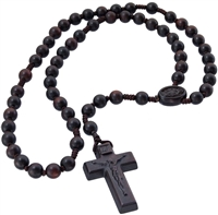 "16"" Rosary with 8mm Jujube Wood Beads W223"