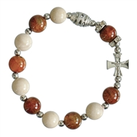 Rosary Bracelet Gemstone Tan/Brown 10mm RBA53